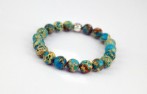 NATURAL AFRICAN TURQUOISE BEADED BRACELET FOR MEN.
