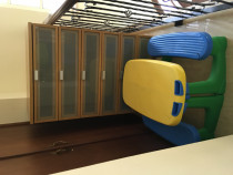 Baby cot, chest of drawers, play table