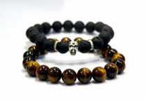 NATURAL TIGER'S EYE AND LAVA STONE BEADED BRACELET FOR MEN