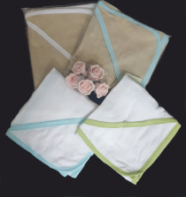 Baby hooded towels available in two colors and color border lines