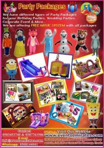 Amazing Birthday party packages. for all kinds of events parties.
