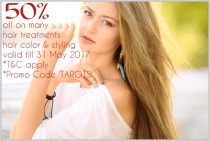 50% off on selected hair treatments, styling and hair color