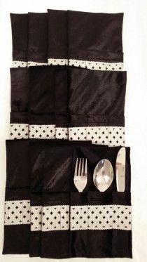 Forks,Spoons,Knifes  holders  , contains 12 Pcs black color