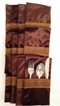 Forks,Spoons,Knifes  holders  , contains 12 Pcs brown color