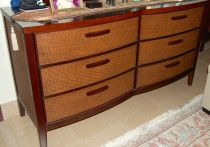 The ONE- Large dark wood rattan dresser (mirror included)