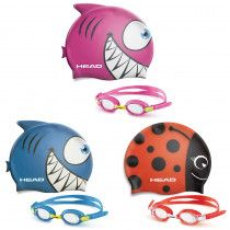 HEAD SWIMMING GOGGLE & CAP SET FOR JUNIORS