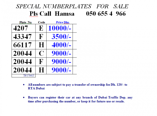 Dubai Number plates for Sale