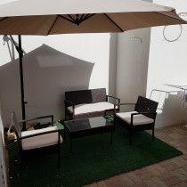 Rattan outdoor garden set+large foldable umbrella
