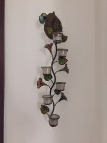 Wall Mounted Candle Holder with flowers