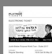 Justin Beiber Tickets for sale today , 250 Dhs per ticket