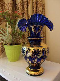 NEW Blue-Golden Czech Glass Vase