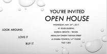 You are invited to open house on Wednesday, May 24th, 2017 at 20:00 (8:00pm)