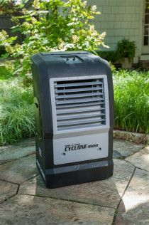 Outdoor coolers and misting fans