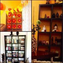 Dark Wood Showcase cum Bookcase