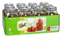 Ball Mason Regular Mouth Quart Jars with Lids and Bands, Set of 12