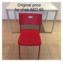 6 Red Ikea Plastic Chairs