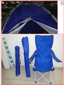 SOLD. No more inquiry.. 2 Beach chairs, Tent and unused umbrella  - Only 40 AED.