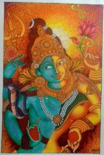 Kerala Mural Hand Painting – Ardhanareeswara- Acrylic on Canvas
