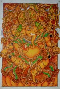 Kerala Mural Painting- Ganesha Original Hand Painting – Acrylic on Canvas.