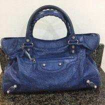 Beautiful Balenciaga City Bag in Blue Lambskin