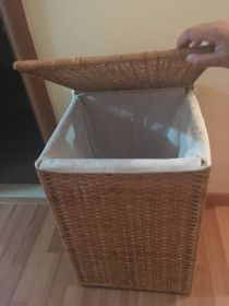 Laundry bin ( wooden material ) in great condition 85 AED