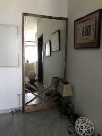 Large handmade mirror for sale, stained wood