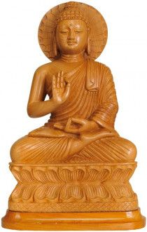 Lord Buddha sculpture carved in solid wood.