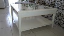 White Coffee Table with Glass Top and Storage for sale in Dubai