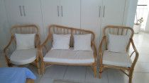 Handmade rattan outdoor sofa + 2 chairs with cushions for sale in Dubai