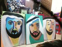 Painting -Pillar Of UAE (cartoonize) Sheikh Mohammad, Baba Zayed,Sheikh Khalifa