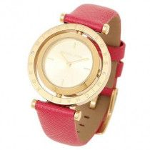Michael Kors Averi Women's Gold Dial Leather Band Watch