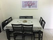 Dining table original wood with 8 chairs and extendable to 12