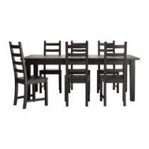 Black ikea Extendable table and 4 chairs