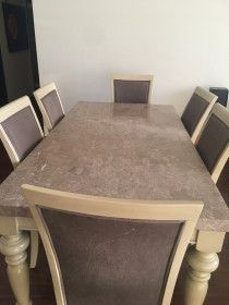 Brand New marble top dining set with six chairs