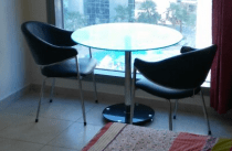 Dining table with Glass Top plus 2 chairs