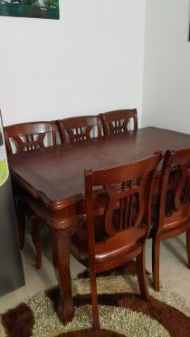 Dining set with 6 chairs real solid wood for sale in Dubai