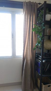 Golden-brown Fabric Curtain for Sale in Abu Dhabi - excellent condition.