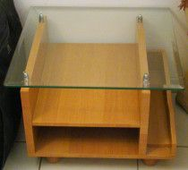 Coffe Tables Set for 3 People with Shelves & Glass