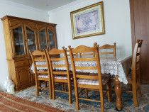 Wooden 8 seater Dining table with cabinet & frame