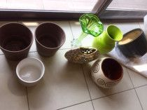 Great pots and vases in brown, green, white, beige, or silver