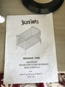 Junior Baby Crib and bedding set for sale