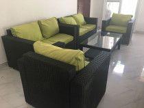 Black Rattan Sofa for Sale. 2 Piece 1 single, 2 piece double