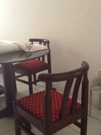 Classic wooden dining set with glass top