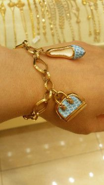 18k italian gold bracelet with blue enamel shoes n bag
