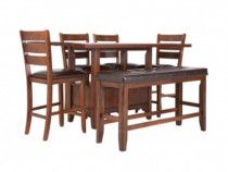 Wood dining table with chairs and bench!