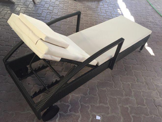 Teak & wickers sun loungers , garden shed & table set for sale in Dubai