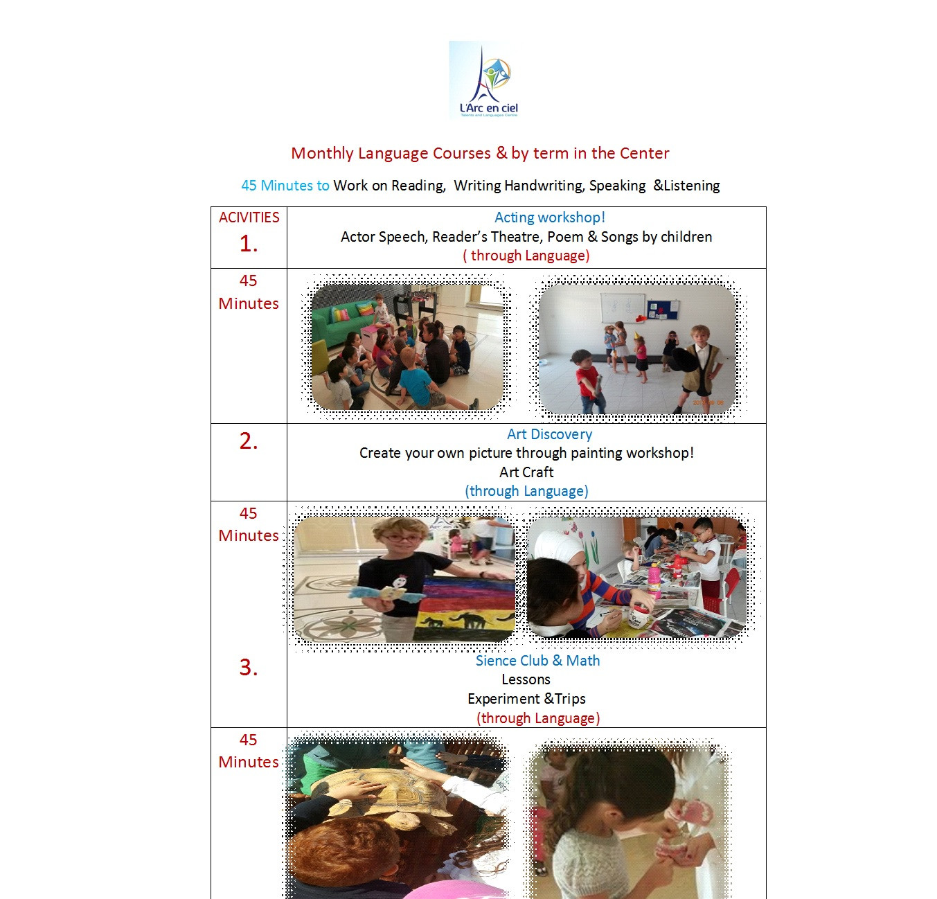 AFTER-SCHOOL LANGUAGE COURSE THROUGH THE ACTIVITIES