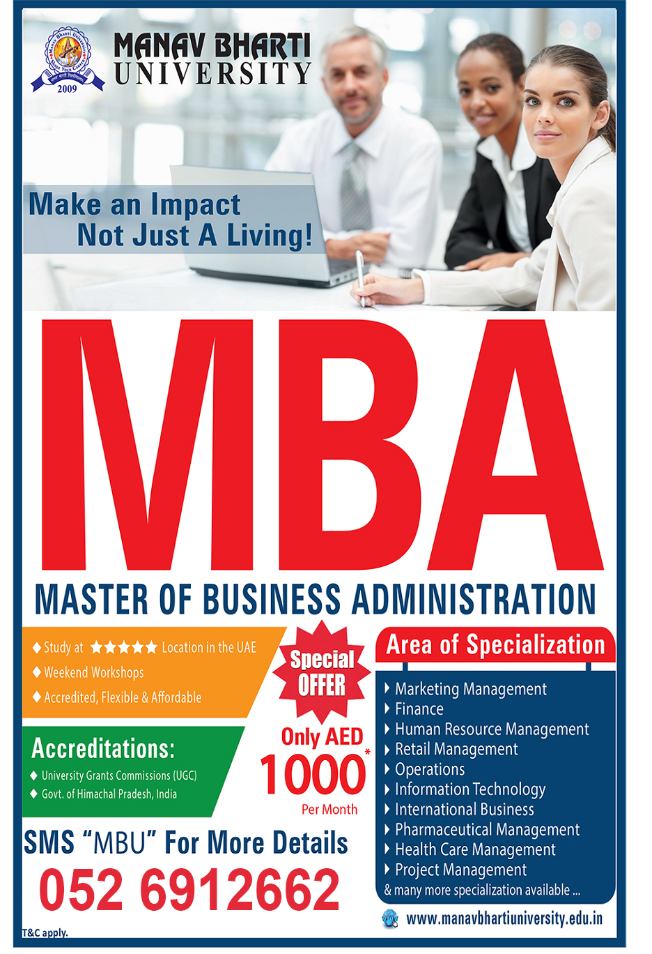 Affordable MBA @ AED1,000 / Month