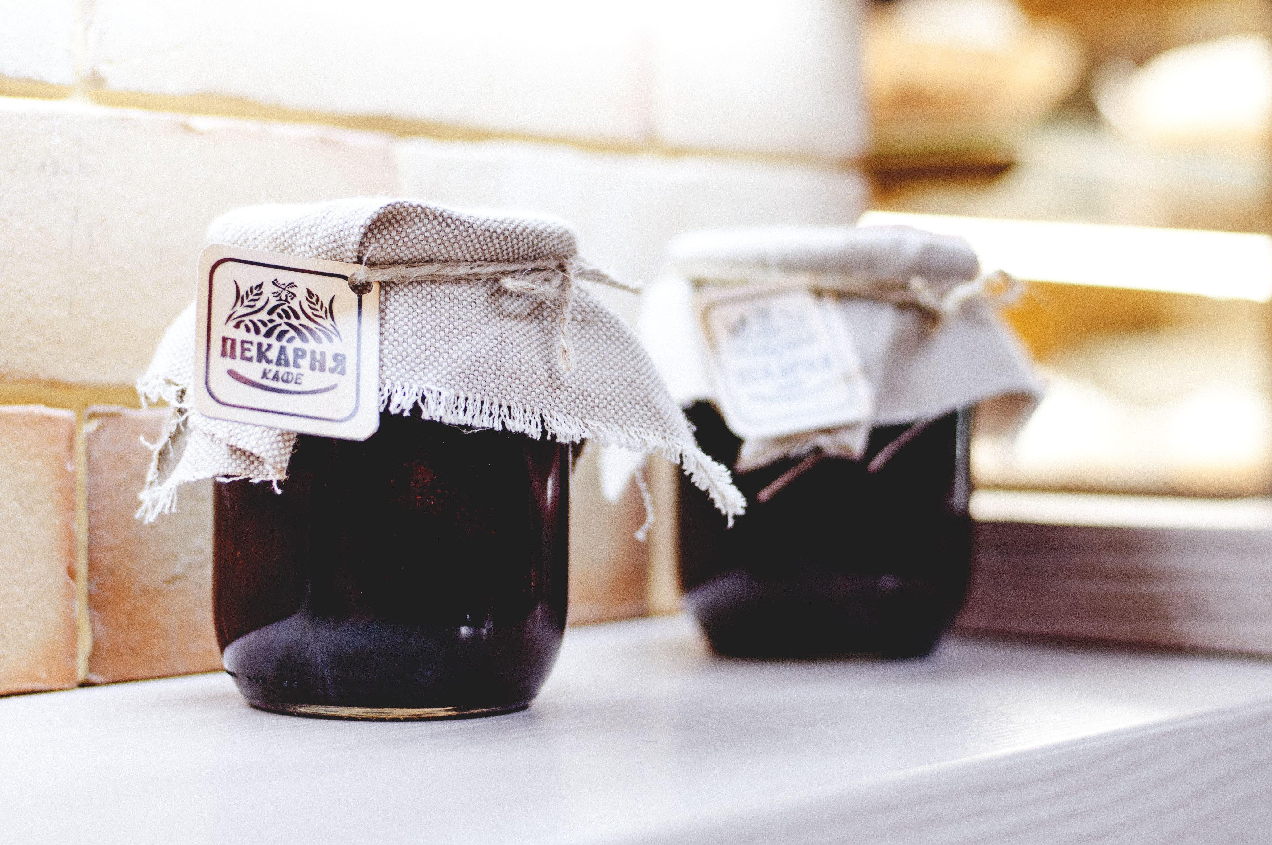 Home made jam bottles
