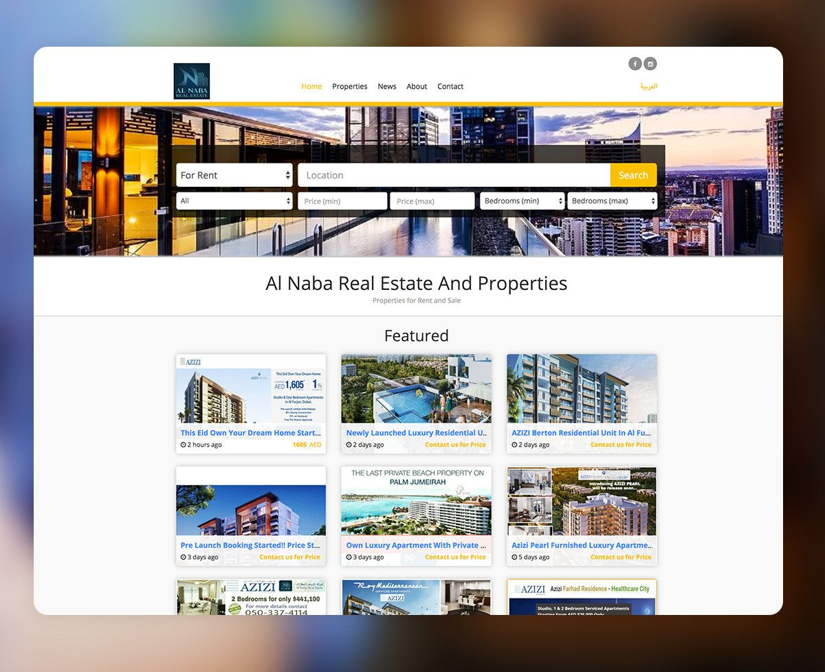 Real Estate Website Theme Example